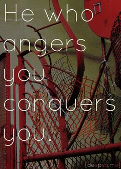 He who angers you conquers you. —Elizabeth Kenny