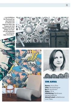 Our designer Anna Ekre in Swedish magazine Metro.