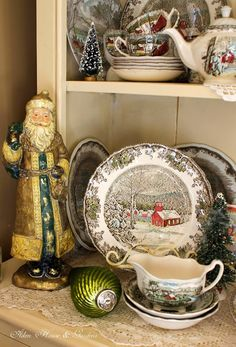 love looking at this china (Friendly Village by Johnson Bros - Made in England).Aiken House & Gardens: Friendly Village Cupboard i have this china also and i love it during the winter. Christmas China, Christmas Dishes, Christmas Kitchen, Noel Christmas, Country Christmas, All Things Christmas, Vintage Christmas, Xmas, Christmas Dinnerware Sets