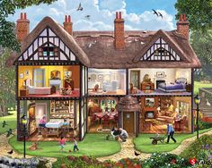 In the 1000 piece jigsaw puzzle, Summer House by White Mountain, the inside of a family's house is illustrated. Here's the companion piece to our wildly popular Christmas House puzzle. Best Jigsaw, English Summer, Tudor Style Homes, Photo Images, Cross Paintings, Wooden Puzzles, Puzzle Art, Puzzle 1000, Halloween House