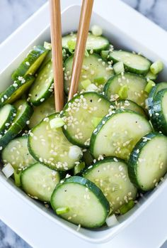 Asian Cucumber Sesame Salad...This fresh cucumber salad is full of delicious Asian flavors!!