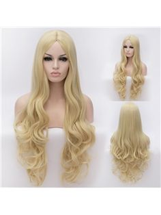 Amazing Long Light Golden  Female Wavy Hairstyle 32 Inch