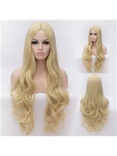 Amazing Long Light Golden  Female Wavy Hairstyle 32 Inch
