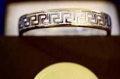Meandros bracelet / 14K Gold Plated Zinc / Hinged / Silver plated zinc / Greek Key Pattern