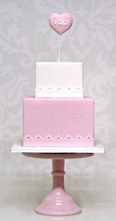 "Pink & White Tiered ""I Do"" Wedding Cake"
