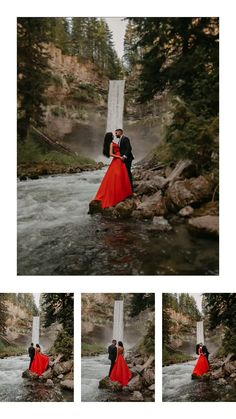 These two gems came from the States to visit beautiful Vancouver, BC and we had the pleasure of taking their engagement photos at Brandywine Falls! Her red dress against the water is PERFECTION. Water Engagement Photos, Indian Engagement Photos, Engagement Photo Poses, Engagement Photo Inspiration, Engagement Shoots, Engagement Photography, Brandywine Falls, Wedding Photography And Videography, Pre Wedding Photoshoot