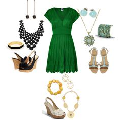one dress and three different looks, created by jtmillertime.polyvore.com