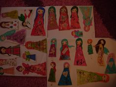 New collection of 25 paper dolls mixed media art by eltsamp, $40.00