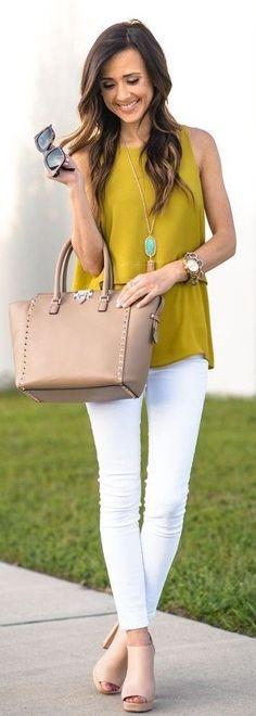 Mustard Tiered Tank Top,  Rockstud Medium Tote, Platform Sandals, Platform sandals, Stretch Skinny Jeans, Celine Sunglasses   Casual Spring Style