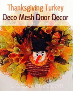 DIY Duce Mesh Thanksgiving Turkey Wreath. Gorgeous! Tutorial on CraftsnCoffee.com.