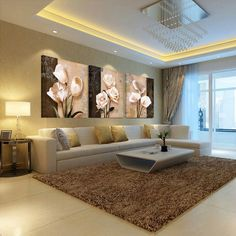 (no frames) picture 3 piece modern cheap home decor wall pictures oil paintings art on flower bedroom living room canvas print Ceiling Design Living Room, Living Room Tv, Living Room Kitchen, Living Room Designs, Cozy Living, Living Room Canvas Prints, Wall Prints, Living Room Pictures, Wall Pictures