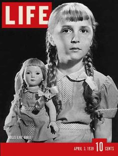 1939 original vintage Life magazine cover only. Magazine not included. With view of 8 year old Barbara Devine of New York and her look-alike doll. Life Magazine, History Magazine, Old Magazines, Vintage Magazines, Life Cover, Tv Guide, Look Alike, Child Models, American Girl