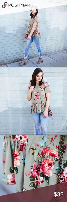 "Green Floral Peplum Blouse A lightweight floral blouse with flirty details! A sweet peplum hem and a high frilled neck. A keyhole button closure in the back. The perfect piece of summer or your fall layering!   c o n t e n t + polyester  c o l o r + olive floral    m e a s u r e m e n t s ✂️ +  18"" bust + 23"" length (front) + 27"" length (back)  m e 💄 5'4"" 