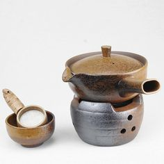 A complete set of Handmade Crude Ceramic Tea wares by Chinateaware