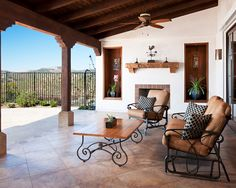 Hilltop Residence in Spanish Ranch Style Home Design: Awesome Mediterranean Porch Classic Sitting Furniture Hilltop Hacienda