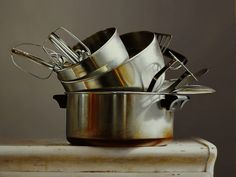 """Pots and Pans"" Larry Preston, oil on panel, 2016 Copper Pots, Still Life Art, Roasting Pan, Preston, Casserole Dishes, Larry, Food Art, Kitchen Design, Kitchen Appliances"