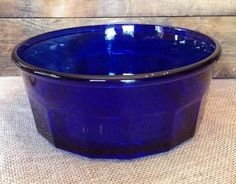 "Vintage Arcoroc Faceted Blue Cobalt Glass Bowl 9"" France in Pottery & Glass, Glass, Glassware 