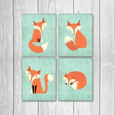 75% OFF SALE Fox Nursery Decor Set of Four by DreamBigPrintables