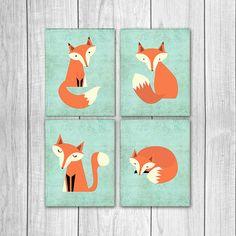 75% korting te koop Fox Decor van de kwekerij Set van vier