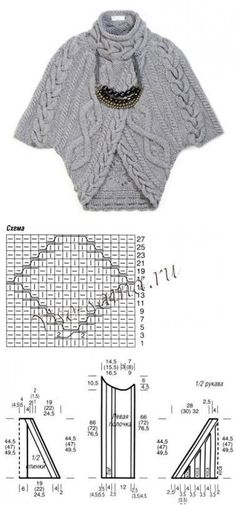 "This looks like a wonderful idea for a long knitted strip folded into a cardigan. [ ""Another awesome Russian cable knit poncho pattern"" ] # # # # # # # # Knit Shrug, Knitted Cape, Knitting Stitches, Hand Knitting, Tricot D'art, Knitwear Fashion, Knit Jacket, Crochet Fashion, Crochet Clothes"