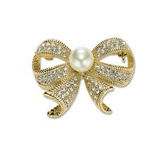 Shop for Pearl Bow Brooches,Okajewelry Gold Plated Rhinestone Bow Pin Brooch secures with a pin back and shines with a highly polished finish. Pearl Brooch, Brooch Pin, Stone Gold, Favim, Jewlery, Bows, Pearls, Gold Plating, Bling Bling