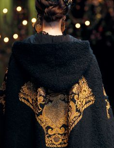 Dolce and Gabbana cape. try this with a persian lamb and painted denim as an upcycled