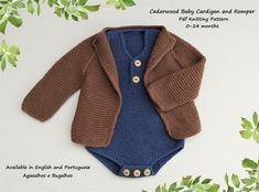 The Cedarwood Baby Cardigan and Romper Knitting Pattern is a lovely set that suits both boys and girls. This baby coat is worked with raglan shaping from the top down in garter stitch. The cardigan edges are knitted in I-cord. We will also have I-cords at the middle of the raglan increases and on Baby Knitting Patterns, Christmas Knitting Patterns, Knitting For Beginners, Knitting For Kids, Baby Cardigan, I Cord, Baby Coat, Rompers, Baby Knits