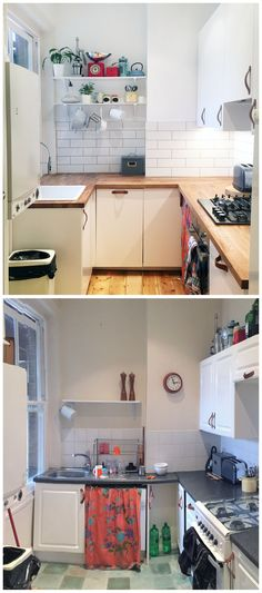 Compact smalk apartment flat kitchen white and natural wood - before and after
