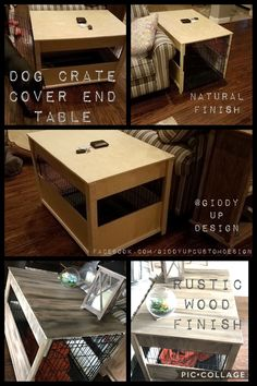 Dog Crate Cover End Table #dogcrate #diy #endtable #anniesloan #chalkpaint #giddyupdesign
