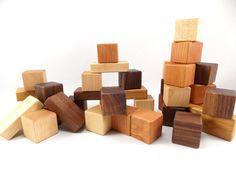 36 Wooden Building Blocks - Natural Hardwood Toy Blocks -Wood Block Set. $41.00, via Etsy.