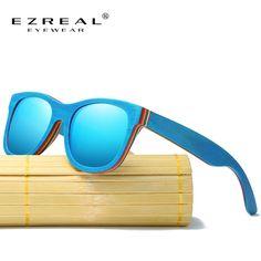 346e8885c EZREAL Skate De Madeira óculos de Sol Azul Espelhado Óculos De Sol De Bambu  Quadro Com