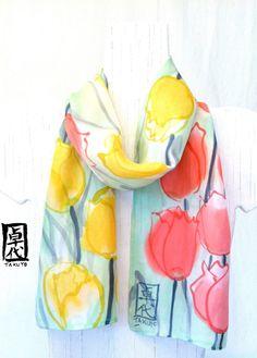 Hand painted silk scarves. Floral Silk Scarf. by SilkScarvesTakuyo