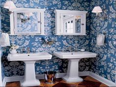 Best Bathroom Wallpapers   Best Blue Bathroom Wallpaper....A CHARMING BLUE AND WHITE BATH !!! 'Cherie