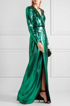 Roland Mouret - Wrap-effect Lamé Gown - Emerald - UK Fashion Forms, Fashion Design, Colourful Outfits, Colorful Clothes, Roland Mouret, Top Designer Brands, Green Dress, Dress Outfits, Fashion Online