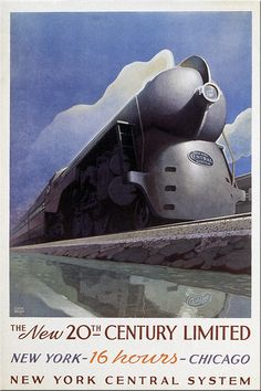 20th Century Limited streamlined steam train art deco poster