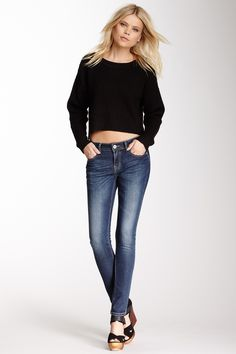 Grace In LA Denim Studded Pocket Skinny Jean