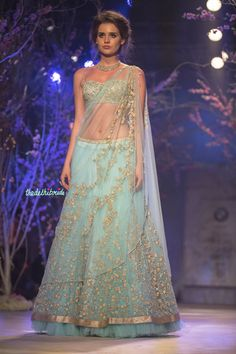 Sky blue light lehenga what to wear on engagement Jyotsna Tiwari India Bridal Fashion Week 2014