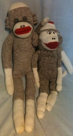 cute vintage pair of sock monkeys