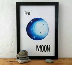 Poster Blue Moon von BatonRougeArts auf Etsy wall art, print art, typo, aquarell, abstract, space, heaven, original artwork, wall art, linoprints, linocut, monotype, monoprint, wall decor, print, poster, typo, digital print, printmaker, abstract art, modern abstract, contemporary art,