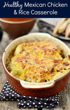 This Mexican Chicken and Rice dish really hits the spot on cold nights. And if you want mo make it extra warm, throw in some diced jalapenos!   #recipes #casserole
