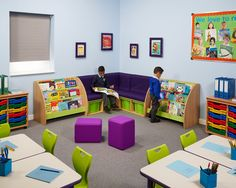 Merveilleux #Reading Corner For #primaryschool Combines Face Out Book Display And Soft  Seating To