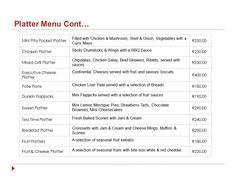 Platter menu continued