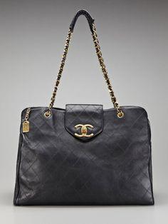 Vintage Black Quilted Calfskin Leather Weekender Bag by Chanel on Gilt.com