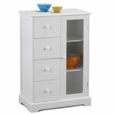 Cabinet for microwave on top, storage for snacks and dishes below, for dorm room.
