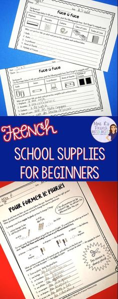 French school supplies and avoir conjugations speaking and writing activities Online Classroom, Classroom Supplies, School Supplies, Communication Activities, Writing Activities, French Sentences, High School French, Learn To Speak French, How To Teach Kids