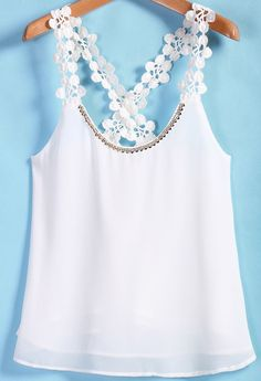 To find out about the White Lace Spaghetti Strap Chiffon Cami Top at SHEIN, part of our latest Tank Tops & Camis ready to shop online today! Chiffon Cami Tops, Lace Tops, Diy Fashion, Ideias Fashion, Fashion Outfits, Blouse Styles, Blouse Designs, Chemises Sexy, Crochet Blouse