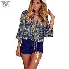 2017 Mulheres Blusas de Chiffon Verão Impressão Mulheres Tops Estilo Boho Praia Com Decote Em V Top Ropa Mujer Blusas Femininas Plus Size Camisas