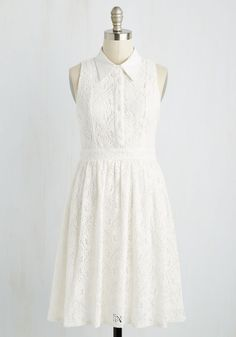 Sportive Spectator Dress. While each player stands at the ready to swing, you sit in the stands looking sweet as can be in this white shirt dress, equally ready to smile at anyone who looks your way! #white #modcloth