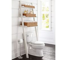 Trendy bathroom storage shelf over toilet pottery barn ideas Over The Toilet Ladder, Over Toilet Storage, Bathroom Shelves Over Toilet, Bathroom Shelf Decor, Bathroom Furniture, Bathroom Storage, Bathroom Small, Bathroom Organization, Barn Bathroom