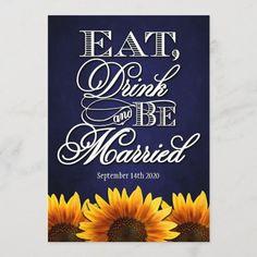 Blue Chalkboard Sunflower Wedding Invitations Chalkboard Wedding Invitations, Wedding Invitation Size, Sunflower Wedding Invitations, Wedding Rsvp, Wedding Matches, Zazzle Invitations, Party Invitations, Rustic Wedding